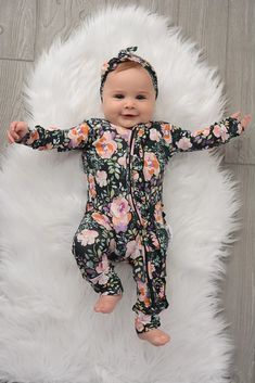 Willow Charcoal Floral Ruffle Zip One Piece Newborn Girl Outfits, Cute Baby Girl Outfits, Baby Girl Newborn, Kids Outfits, Cute Outfits, Baby Baby, Baby Kids, Baby Clothes Brands, Trendy Baby Clothes