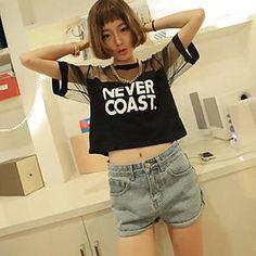 Women's Hollow Shoulder Short T-Shirt – USD $ 6.59