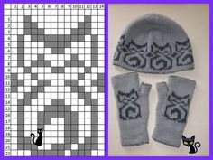 Kitty hat and mitts Knitted Mittens Pattern, Knitting Paterns, Knitting Machine Patterns, Knit Mittens, Knitting Charts, Loom Knitting, Knitting Socks, Knitting Stitches, Knitting Projects