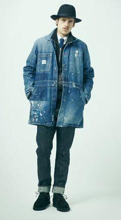 This Neighbourhood denim overcoat Denim Jacket Men, Blue Denim Jeans, Fashion Wear, Mens Fashion, Herve Leger Dress, Gq Style, Denim Patchwork, Clothing And Textile, Men Formal