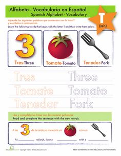 Worksheets: Spanish Letter T