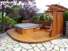 garten 34 Inspiring Hot Tub Patio Design Ideas For Your Outdoor Decor - HMDCRTN ideas with hot tub Hot Tub Gazebo, Hot Tub Backyard, Backyard Patio, Whirlpool Deck, Deck Landscaping, Patio Wall, Patio Design, Outdoor Decor, Outdoor Living