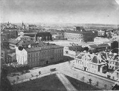 Widok na Plac Saski z wieży kościoła ewangelicko-augsburskiego przy Placu Małachowskiego