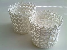 Crocheted lace basket