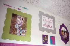 DIY home decor- cute girls room gallery wall.  LOVE the glitter frames!! by Kristen Duke, Capturing Joy