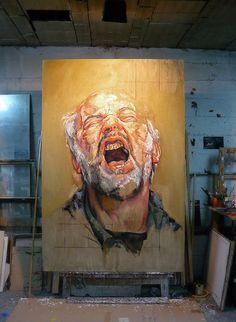 """El Grito"" self-portrait oil painting in progress at the Spain studio of Pablo E. Schugurensky, 2013. http://www.saatchiart.com/art/Painting-El-grito/46087/1561178/view"