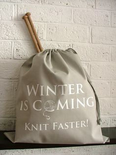 Game of Thrones inspired grey knitting project bag - book quote parody - Kelly Connor Designs. Etsy.