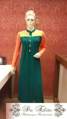 A bottle green long high yoked kurti with a tinge of neon added to it. An outfit like this can be worn to grace various occasions be it a formal evening or a family get together. Just apt!!!