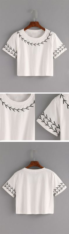 Branch Embroidered Crop T-shirt - White || casual outfit inspiration || women's fashion || everyday style