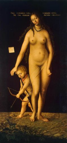 'Venus e Cupido', óleo por Lucas Cranach The Elder (1472-1553, Germany)