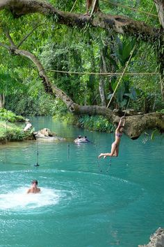 Blue Lagoon in Vang Vieng, Laos. I would LOVE to have this in my back yard in the new world.