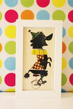 CLEARANCE SALE! Black Poodle Unicycle - Vintage Retro Circus Characters Card Nursery Art on Etsy, $19.20