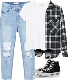 Ashley inspired last day of school outfit Untitled #247 by ashbenzostyle featuring MonkiR13 black plaid shirt / Monki t shirt, $14 / Low rise boyfriend jeans / Converse black velvet shoes, $68 / STELLA McCARTNEY black square sunglasses