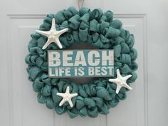 Beach Wreath Nautical Wreath Burlap Wreath by ChloesCraftCloset