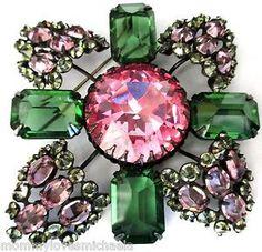SCHREINER MASSIVE Pink & Green Rhinestone Vintage Pin | eBay