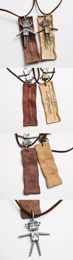 Can Robot Necklace with leather tag and quote