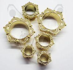 Brass-Gold-Silver-Bali-Mandala-Ear-Plug-Tunnel-Lotus-Tribal-Dreamcatcher-Cute Tunnels And Plugs, Ear Plugs, Lotus, Dream Catcher, Piercings, Mandala, Brass, Detail, Bracelets