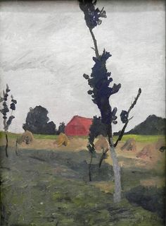 The Athenaeum - Worpsweder Landscape with Red House (1900) (Paula Modersohn-Becker - )