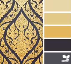 This 'ornate gilt' colour pallet by Design Seeds suits our Get the Look Embrace Folding Bath Screen Photograph - with its golden Hues and Black accents.