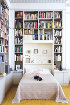 tiny house book storage inspiration — floor to ceiling white built in shelves around the bed!