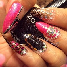 Funky pink and black claws with bling! ❤️