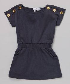 navy button top dress