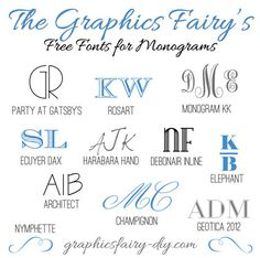 How to print on fabric. The Graphics Fairy - DIY: Favorite free fonts for creating monograms Fancy Fonts, Cool Fonts, Photoshop, 3d Cuts, Silhouette Cameo, Silhouette Projects, Computer Font, Zentangle, Web Design