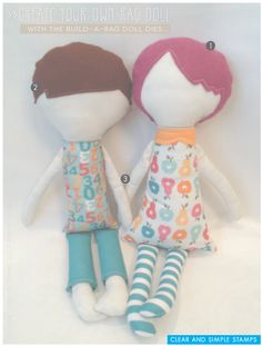 "Build-a-Rag Doll | Clear and Simple Stamps (by Steph Zerbe Designs) | Create Your Own Rag Doll | Plush Rag Doll | Boy Doll | Girl Doll | DIY Rag Doll | Visit blog for ""how-to"" assemble"