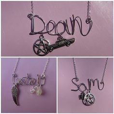 Customised Supernatural Character Wire Word Necklace - Sam/Dean/Castiel | I can't even explain to anyone except my fellow superwholockians how much I need these!