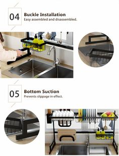 HTY™-Drain rack!Multi-Function Dish Drying Rack Over Sink Display Stan – acelote Storage Rack, Storage Shelves, Kitchen Storage, Shelf Holders, Messy Kitchen, Bus House, Back To Home, Home Tools, Stainless Steel Kitchen