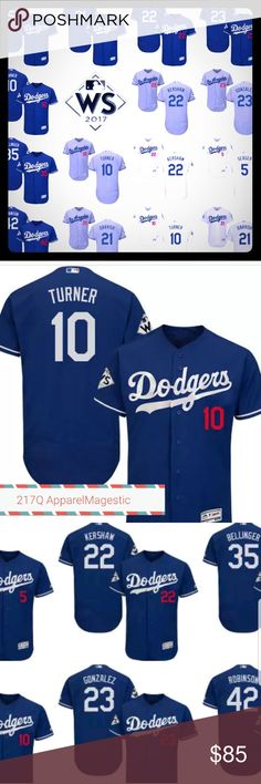 World Series Dodgers Jerseys 2017 Magestic MLB World Series Dodgers Jerseys Magestic MLB  Sizes Small Medium Large XL and 2XL White, Blue,  Gray any player any team. Flex base or cool base you choose. Throwbacks available as well shipping takes 3 weeks and specialty/custom orders take 4 weeks with your last name and number . These make Great Presents for bdays, valentines day, and xmas order soon MLB Other