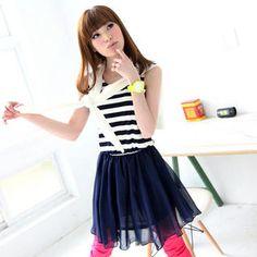 Sleeveless Striped Chiffon Dress from #YesStyle <3