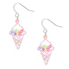 <P>We all scream for ice-cream shaker earrings. Pink outlined ice-cream drop earrings with clear casing and multi-colored beads. Earrings shake and move when you do.</P><UL><LI>Shaker earrings <LI>Drops <LI>Fishhook backs</LI></UL>