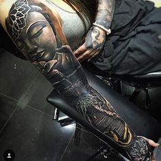 Buddha full sleeve tattoo