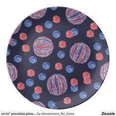10.75'' porcelain plate with red-blue balls
