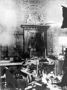 Pictured here is the interior of a desecrated synagogue in Eschwege, Germany on November 10, 1938. On Kristallnacht, SA troops destroyed the synagogue's interior, a mob looted and vandalized Jewish property, and after being paraded through the street, Jewish men were imprisoned in concentration camps.Yad Vashem Photo Archives 153DO4