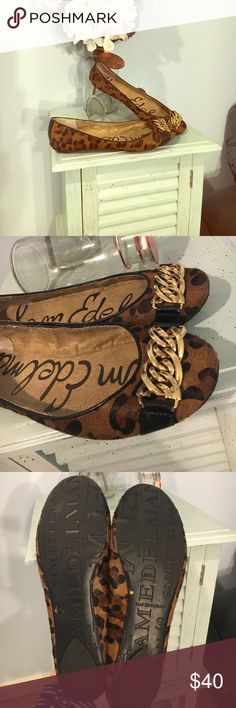 Sam Edelman pony hair animal print flats size 9 Beautiful pair of size 9 leather upper animal print flats. Gold chain detail, pony hair style outer and sole in great condition. Some wear shown on chains. Great pair of shoes! Sam Edelman Shoes Flats & Loafers