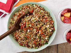 Toss together this easy Farro Salad with Tomatoes and Herbs by adding chopped tomatoes, hearty farro, snipped fresh chives and Italian parsley for a satisfying lunch or first course for a summer party.