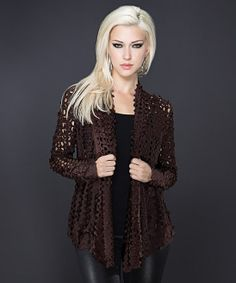 Stunning model wearing Brown Perforated Long-Sleeve Open Cardigan