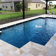 Superior Pools Swimming Pool With Travertine Decking & Coping