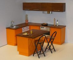 1/12th scale kitchen in tangerine and zebrano by ELF Mins, via Flickr