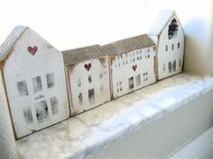 Vintage Wooden House Blocks by lovintagefinds Driving Home For Christmas, Christmas Home, Little White House, Little Houses, Ceramic Houses, Wooden Houses, Small Wooden House, Pintura Country, House Ornaments