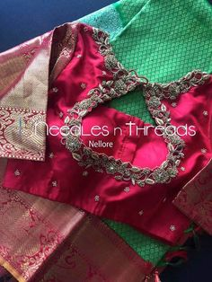 For Unstitched embroidery blouse piece. Kids Blouse Designs, Hand Work Blouse Design, Simple Blouse Designs, Stylish Blouse Design, Blouse Neck Designs, Blouse Patterns, Half Saree Designs, Lehenga Designs, Embroidered Blouse