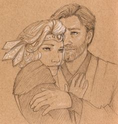 An initial Obi-Wan and Satine sketch for my commission from @cpt-tightpants, working on a gift for @pyrite-trilobite. (Decisiveness is not my strong point, and we worked out a few ideas before finding the right concept)