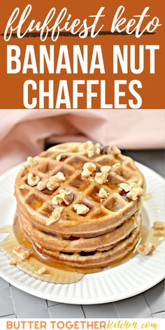 """Banana Nut"" anything is simply delicious! These Keto Banana Nut Chaffles from Butter Together Kitchen harness the sweetness of bananas and the delicious crunch of walnuts to create an amazing combination of flavors! Try this recipe when you are craving something simple, sweet, and crunchy. #chaffles #keto #ketorecipes #lowcarb #lowcarbrecipes Banana Mix, Sugar Free Maple Syrup, Bread Substitute, Low Carb Recipes, Healthy Recipes, Fun Desserts, Bananas, Cravings, Good Food"