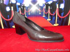Womens shoes NINE WEST Chunky High Heel Pumps Brown LEATHER almond toe sz 10 M #NineWest #PumpsClassics