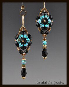 Beadwoven Beaded Beadwork Crystal Flower by beadedartjewelry