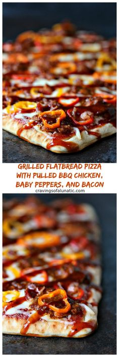 Grilled Flatbread Pizza with Pulled BBQ Chicken, Baby Peppers, and Bacon from cravingsofalunatic.com- This flatbread pizza is topped with pulled BBQ chicken, sliced baby peppers, and pieces of bacon, then grilled to perfection. Once it comes off the grill drizzle it with more BBQ sauce and dive in! @CravingsLunatic #sponsored #99DaysofBBQ