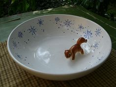 Anchor Hocking Ceramic Serving Bowl-Blue Snowflakes by casabellaporcelain on Etsy