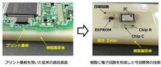 プリント基板を使わずに電子回路を形成する技術をオムロンが開発。電子部品を樹脂に埋め込み、回路をインクジェット印刷